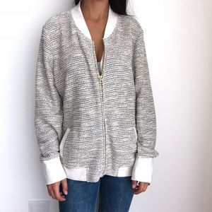 Lucky Brand bomber jacket tweed cardigan XL